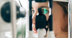 An individual is at an Ophthalmologist for an eye check up