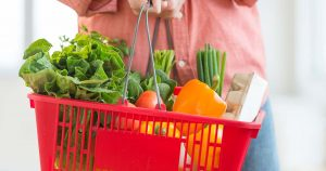 Grocery basket full of fruits and vegetables