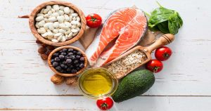 Various proteins, vegetables, grains, fats, and fruits