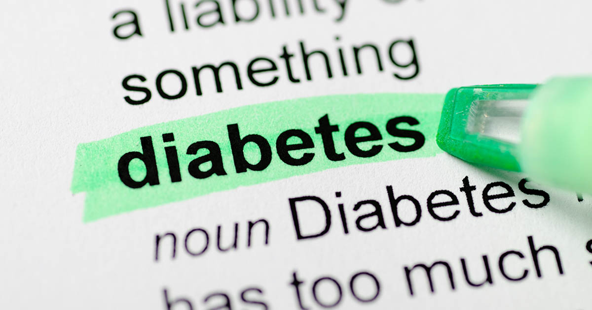 "The word ""diabetes"" is highlighted"