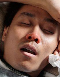 A man has a cold